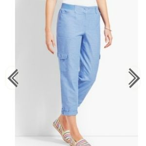 Talbots Chambray Relaxed Cropped Cargo Pants